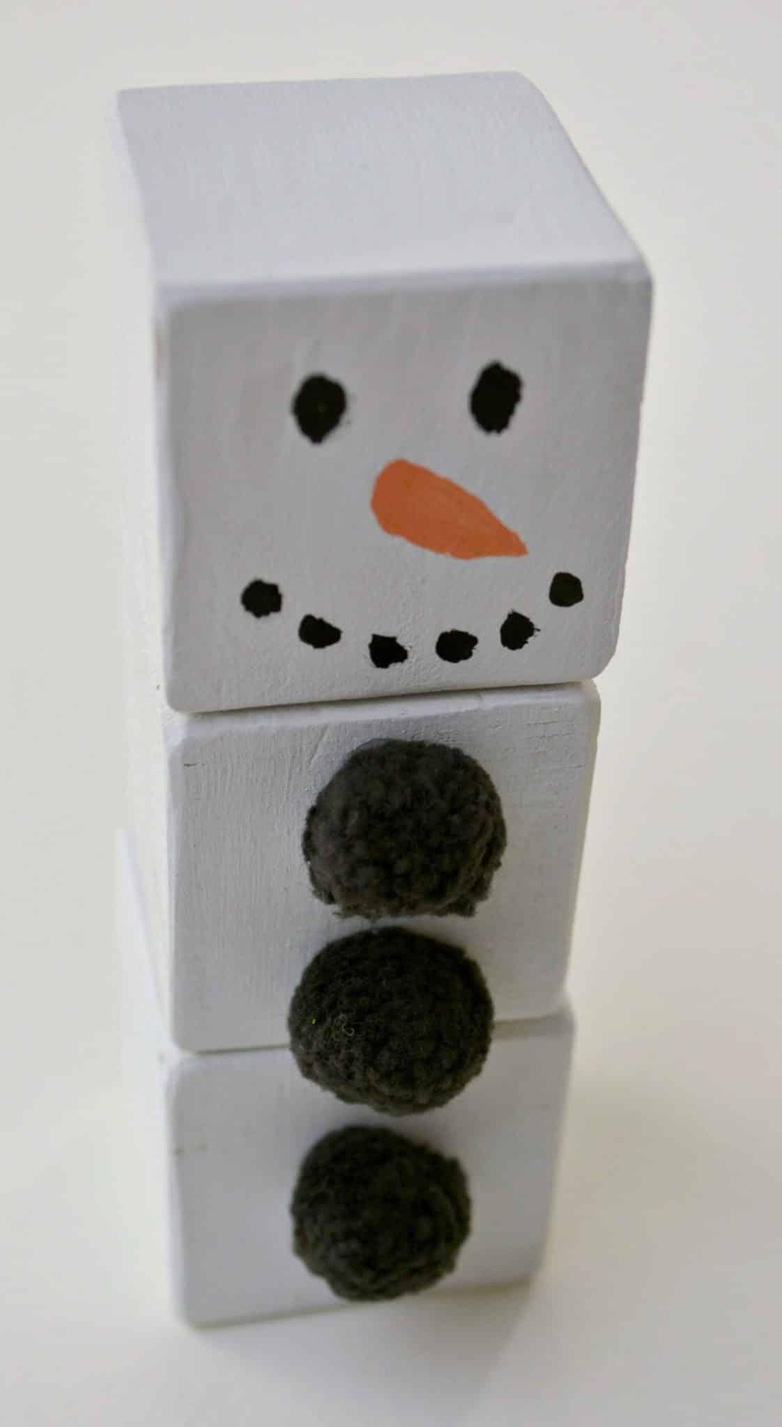wood block snowman ornament materials
