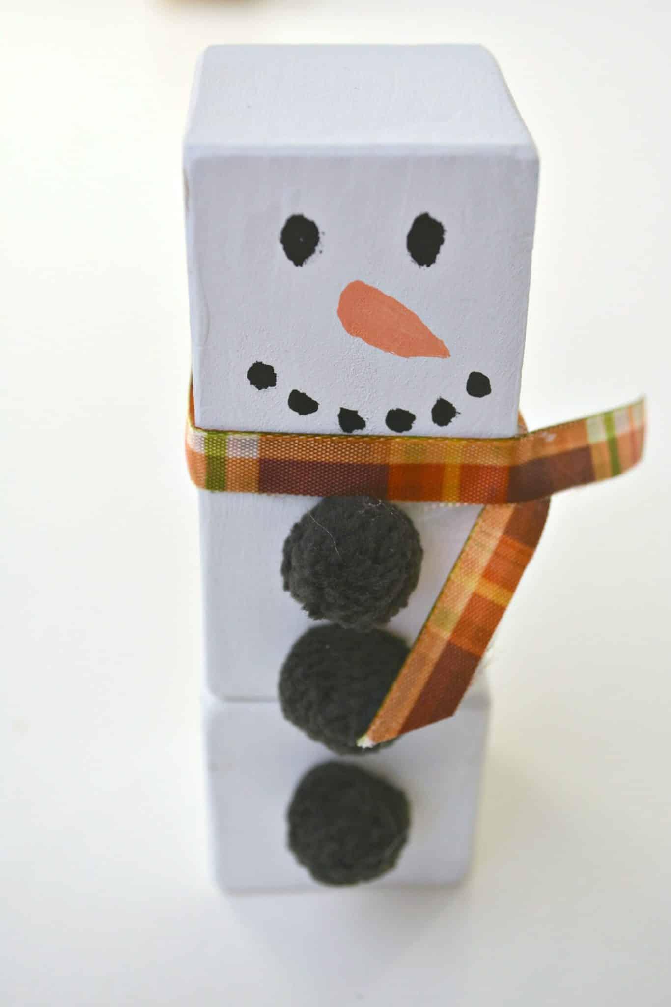 wood block snowman ornament step 5