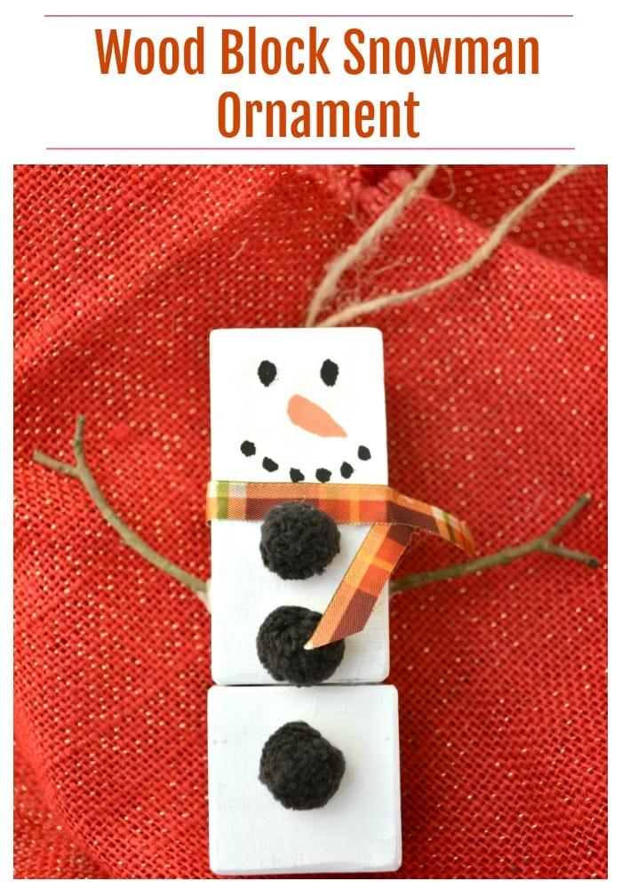 wood block snowman ornament