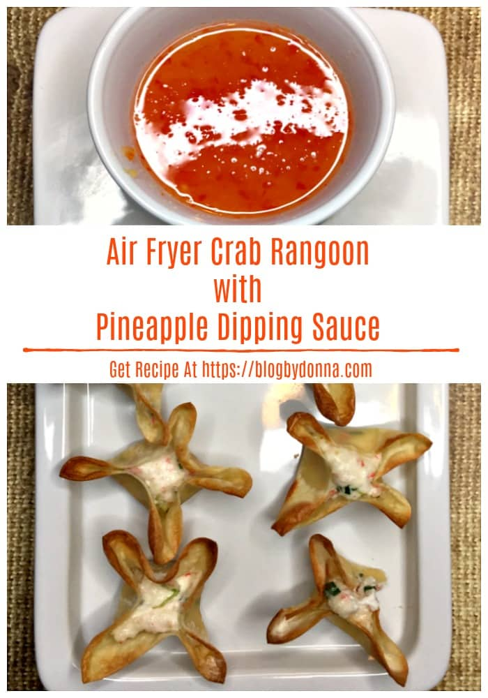 Air Fryer Crab Rangoon with Pineapple Dipping Sauce for a healthy, delicious, and no mess appetizer...