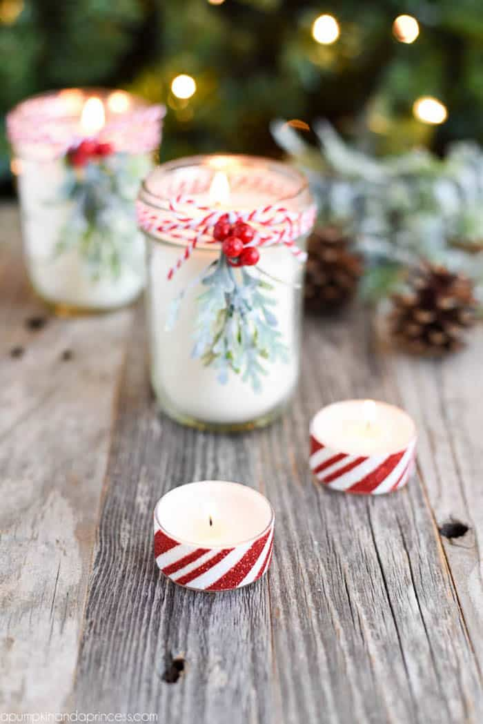 DIY beauty gifts - peppermint tea light candles