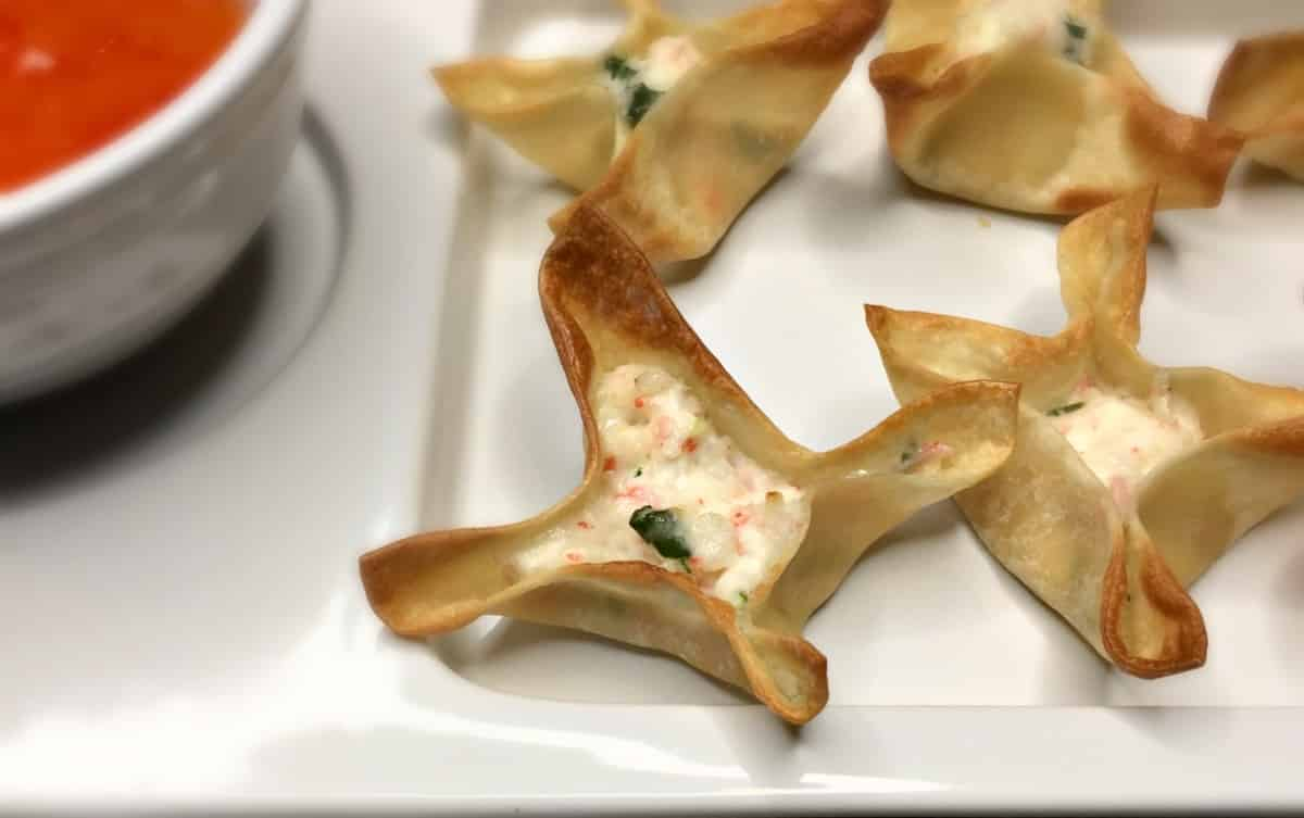 Air Fryer Crab Rangoon Recipe with Pineapple Dipping Sauce for healthier less mess cooking
