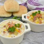 Delicious Lobster Corn Potato Chowder perfect on a cold day...