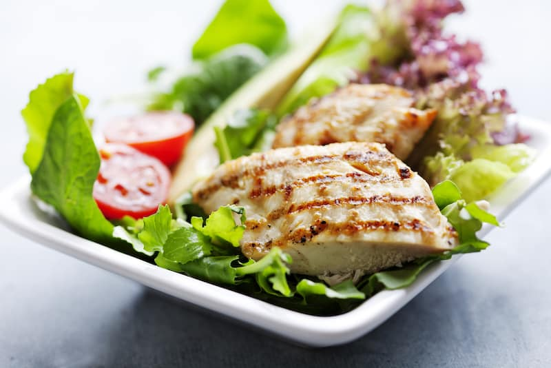 A heart-healthy diet of vegetables, fruit, and lean meat like chicken salad.