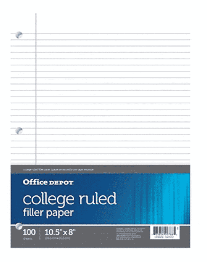 college ruled notebook paper