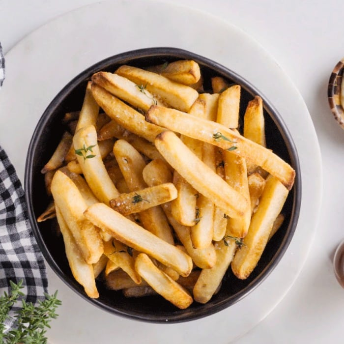 French fries in bowl made in air fryer