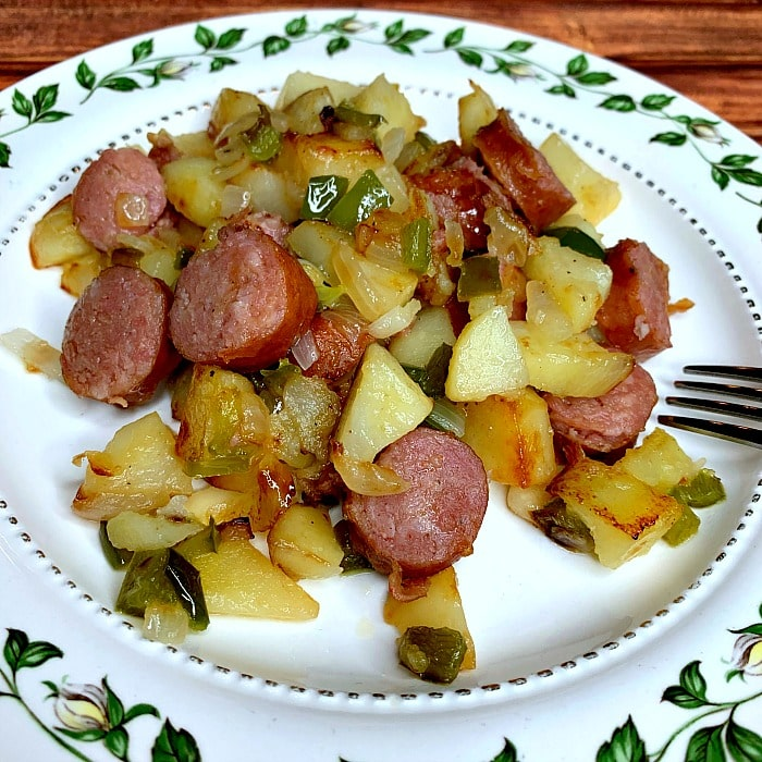 Kielbasa with potatoes, peppers, and onions