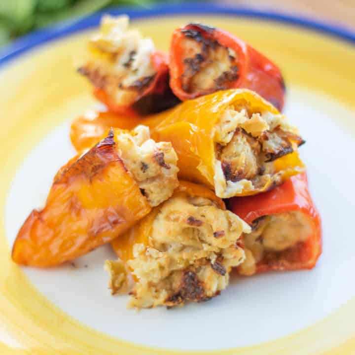 Stuffed Sweet Peppers with Roasted Green Chili Chicken
