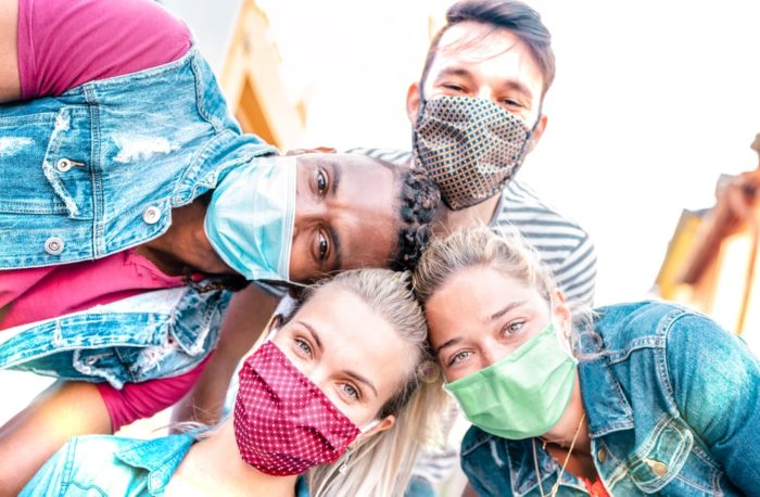 teens wearing masks