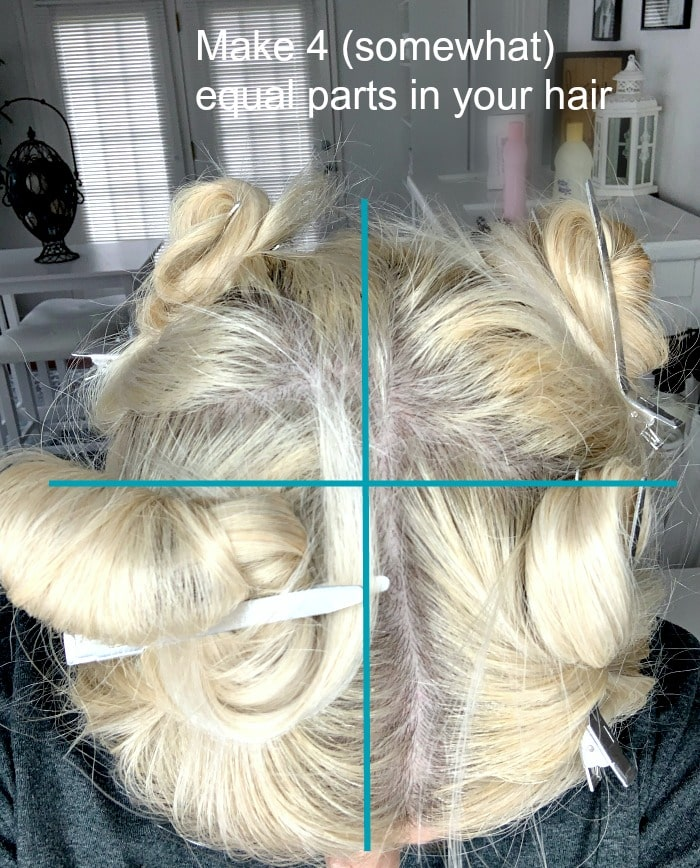 part hair in four sections before bleaching